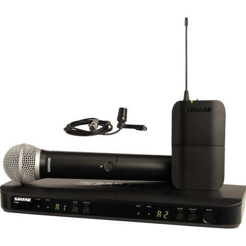 Shure BLX1288/CVL Dual-Channel Wireless Combo Lavalier & Handheld Microphone System (J10: 584 to 608 MHz)