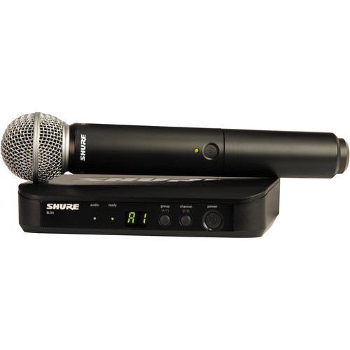 Shure BLX24/SM58 Wireless Handheld Microphone System with SM58 Capsule (J10: 584 to 608 MHz)
