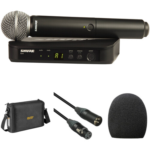 Shure BLX24/SM58 Wireless Handheld Microphone System with SM58 Capsule and Bag Kit (H9: 512 to 542 MHz)