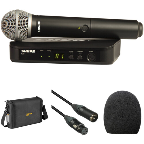 Shure BLX24/PG58 Wireless Handheld Microphone System with PG58 Capsule and Bag Kit (H10: 542 to 572 MHz)