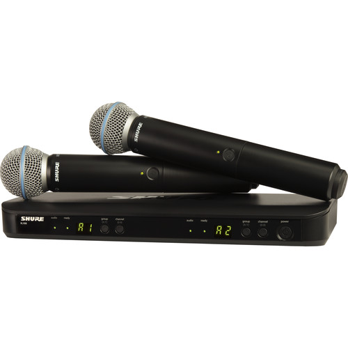 Shure BLX288/B58 Dual-Channel Wireless Handheld Microphone System with Beta 58A Capsules (H10: 542 to 572 MHz)