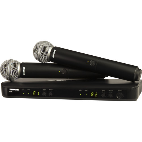 Shure BLX288/SM58 Dual-Channel Wireless Handheld Microphone System with SM58 Capsules (J10: 584 to 608 MHz)
