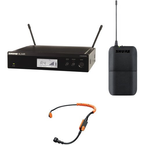 Shure BLX4R Fitness Headset Rackmount Wireless Mic System Kit (H10: 542 to 572 MHz)