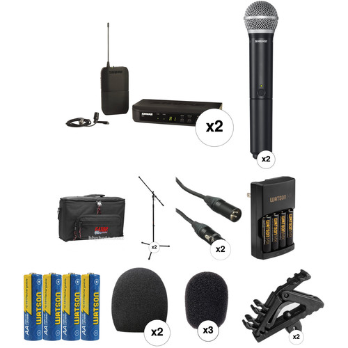 Shure BLX Dual Wireless Handheld and Lavalier System with Basic Combo Kit (H9: 512 - 542 MHz)