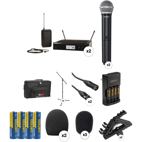 Shure BLX Dual Wireless Rack Mount Lavalier & Handheld Combo Kit (H9: 512 - 542 MHz)