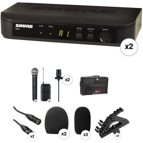 Shure BLX Handheld & Lavalier Basic Dual Combo Kit (H9: 512 to 542 MHz))