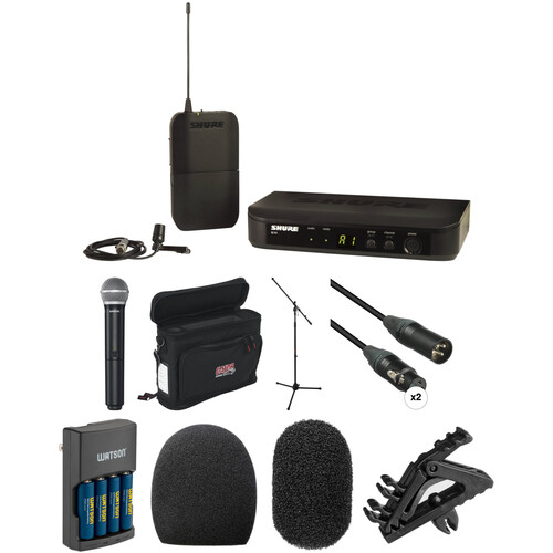 Shure BLX Wireless Handheld and Lavalier System with Basic Combo Kit (H9: 512 - 542 MHz)
