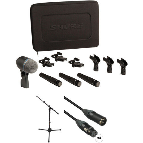Shure DMK57-52 Drum Mic Kit for Live Settings with Stand and 4 Cables