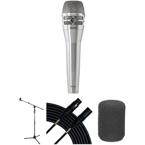 Shure KSM8 Dualdyne Dynamic Handheld Microphone Live Stage Kit (Nickel)