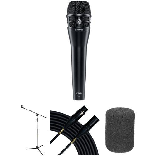 Shure KSM8 Dualdyne Dynamic Handheld Microphone Live Stage Kit (Black)