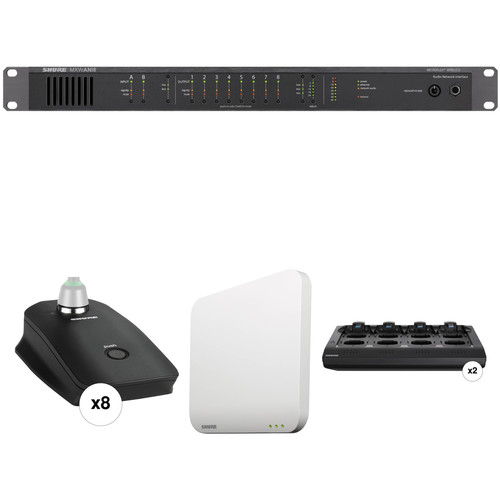 Shure 8-Channel MXW Microflex Wireless Gooseneck Base Conference Audio System Kit