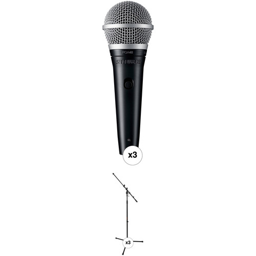 Shure PGA48 Dynamic Vocal Microphone with Cable and Stand Kit (3-Pack)