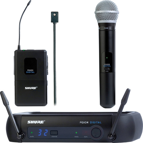 Shure PGXD124/PG58 and PGXD1/WL96 Digital Wireless Microphone Combo Kit