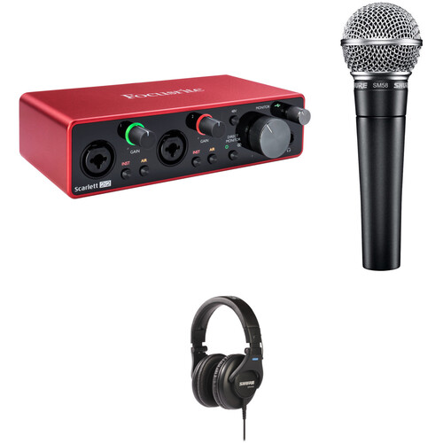 Shure Podcasters Create & Caste Kit with SM58-LC Mic, Focusrite Scarlett 2i2 Interface & Headphones
