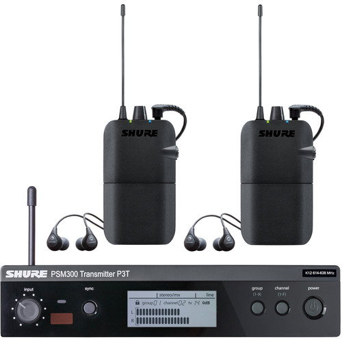 Shure PSM 300 Twin-Pack Wireless In-Ear Monitor (J13: 566.175 to 589.850 MHz)