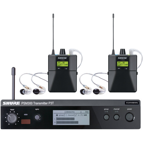 Shure PSM 300 Twin-Pack Pro, Wireless In-Ear Monitor (J13: 566.175 to 589.850 MHz)