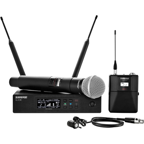 Shure QLXD124/85 Handheld and Lavalier Combo Wireless Mic System (J50A: 572 to 608 + 614 to 616 MHz)