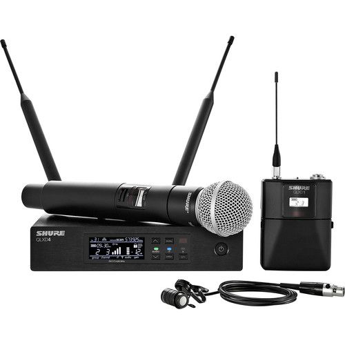 Shure QLXD124/85 VHF Handheld and Lavalier Combo Wireless Mic System (V50: 174 to 216 MHz)