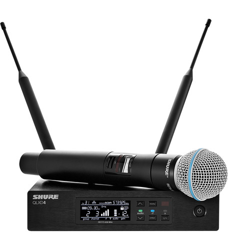 Shure QLXD24/B58 Handheld Wireless Microphone System (J50: 572-636 MHz)