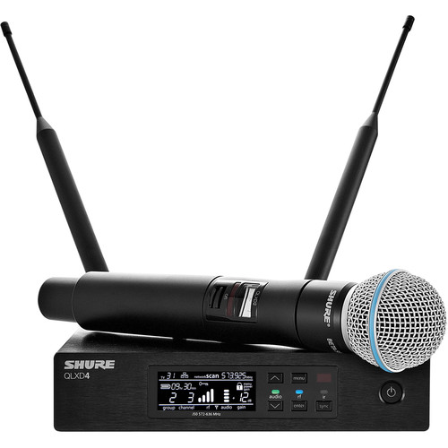 Shure QLXD24/B58 Digital Wireless Handheld Microphone System with Beta 58A Capsule (J50A: 572 to 608 + 614 to 616 MHz)