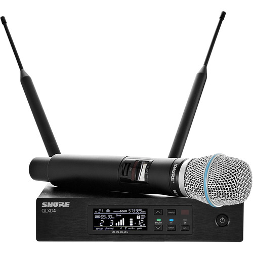 Shure QLXD24/B87A Handheld Wireless Microphone System (J50: 572 to 636 MHz)