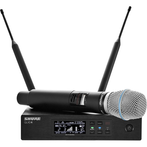 Shure QLXD24/B87A Digital Wireless Handheld Microphone System with Beta 87A Capsule (J50A: 572 to 608 + 614 to 616 MHz)