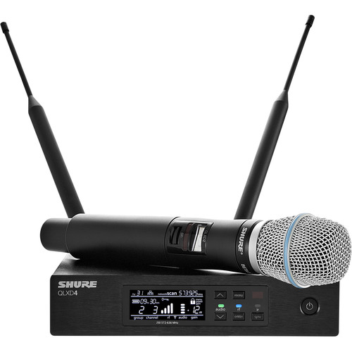 Shure QLXD24/B87A Digital Wireless Handheld Microphone System with Beta 87A Capsule (V50: 174 to 216 MHz)