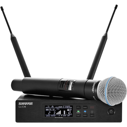 Shure QLXD24/B58 Digital Wireless Handheld Microphone System with Beta 58A Capsule (X52: 902 to 928 MHz)