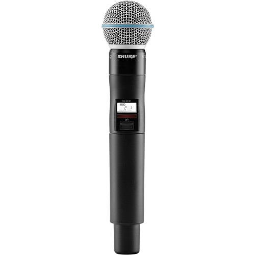 Shure QLXD2/Beta58A Handheld Wireless Microphone Transmitter (J50: 572 to 636 MHz)
