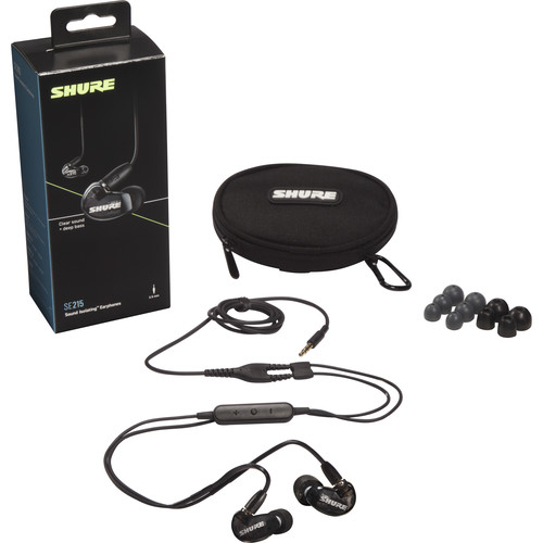 Shure SE215 Sound-Isolating Earphones with 3.5mm Remote/Mic Cable (Black)