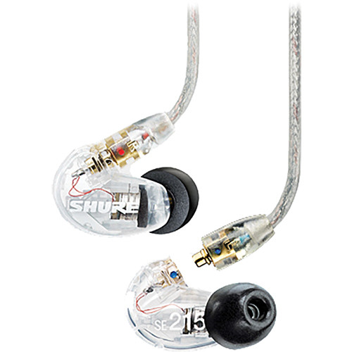 Shure SE215 Sound-Isolating Earphone Accessory Kit with Cables, Adapters, Eartips, and Cable Wrap (Clear)