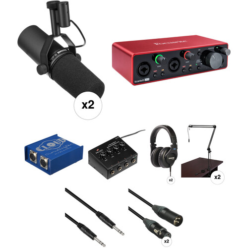 Shure SM-7B Podcasting Microphone Kit with Focusrite Scarlett 2i2 Audio interface & Multiple Accessories