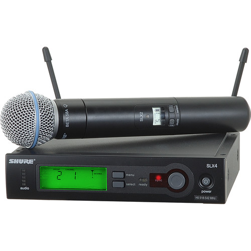 Shure SLX24/BETA58 Wireless Handheld Microphone System with Beta 58A Capsule (H19: 542 to 572 MHz)