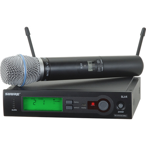 Shure SLX24/BETA87A Wireless Handheld Microphone System with Beta 87A Capsule (H19: 542 to 572 MHz)