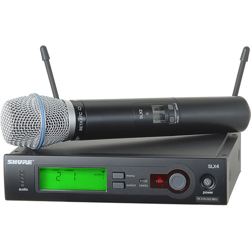 Shure SLX24/BETA87C Wireless Handheld Microphone System with Beta 87C Capsule (H19: 542 to 572 MHz)
