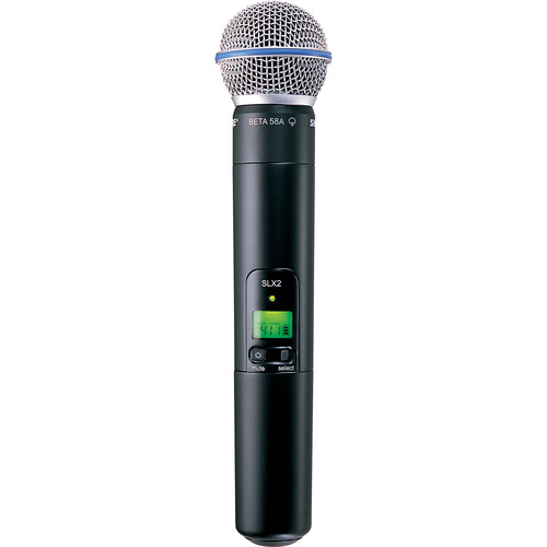 Shure SLX2/BETA58 Handheld Wireless Microphone Transmitter with Beta 58A Capsule (H19: 542 to 572 MHz)