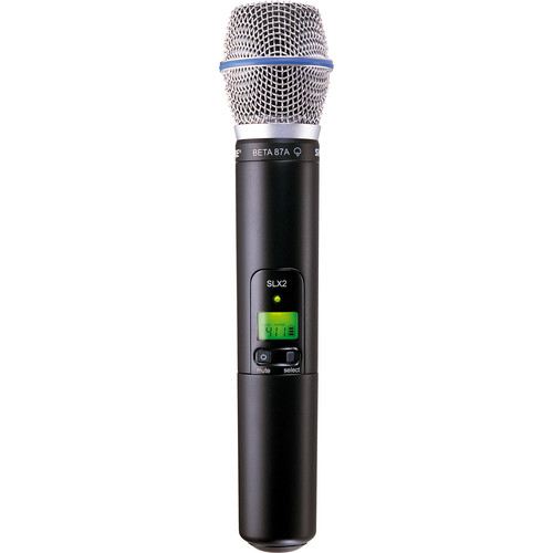 Shure SLX2/BETA87A Handheld Wireless Microphone Transmitter with Beta 87A Capsule (H19: 542 to 572 MHz)