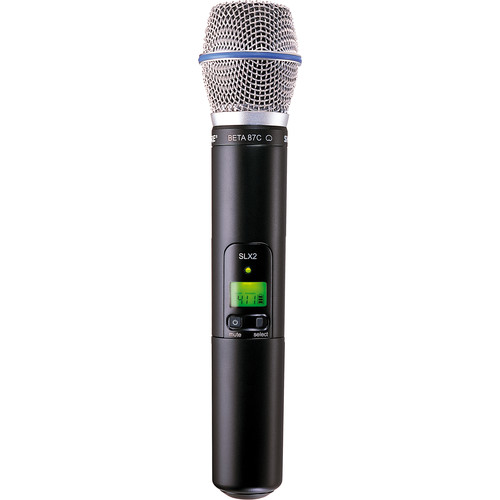 Shure SLX2 Handheld Wireless UHF Transmitter with Beta 87A Microphone (542-572 MHz)