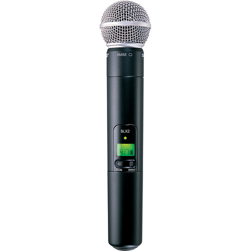 Shure SLX2 Handheld Wireless UHF Transmitter with SM58 Microphone (H19: 542 to 572 MHz)