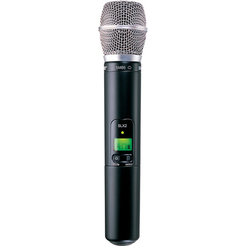 Shure SLX2/SM86 Handheld Wireless Microphone Transmitter with SM86 Capsule (H19: 542 to 572 MHz)