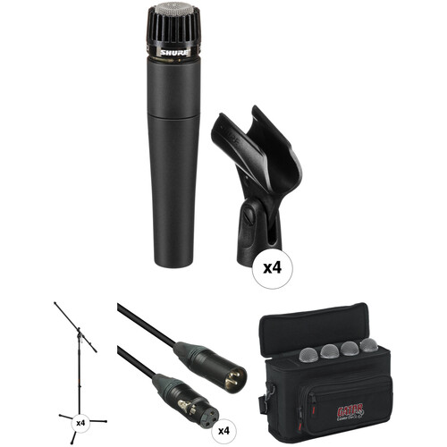 Shure SM57-LC Quad Pack with Cables and Stands Kit