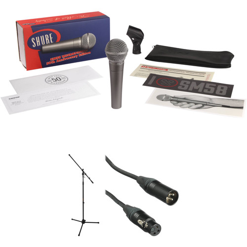Shure SM58 50th Anniversary Edition Microphone with Stand and Cable Kit (Silver)