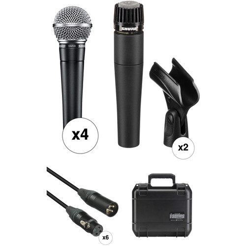Shure SM58 and SM57 Microphones with Cables and ATA Band Kit
