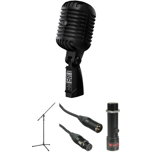Shure Super 55 Deluxe Vocal Microphone Kit (Pitch Black with Black Foam)