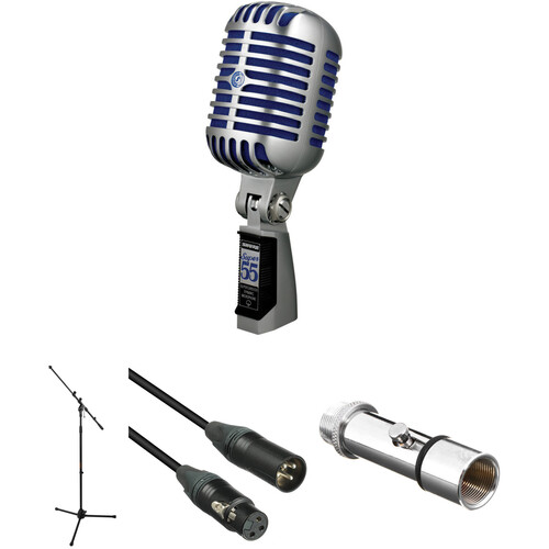 Shure Super 55 Deluxe Vocal Microphone Kit (Chrome with Blue Foam)