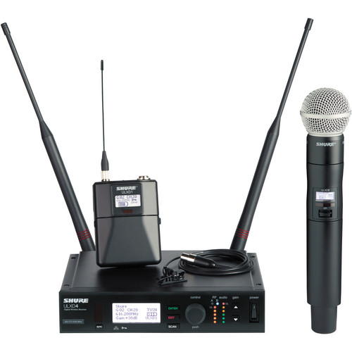 Shure ULX-D Digital Wireless Combo Microphone Kit with SM58 Capsule & MX150 Lavalier (H50: 537 to 598 MHz)