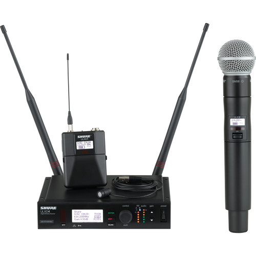 Shure ULX-D Digital Wireless Combo Microphone Kit with SM58 Capsule & WL185 Lavalier (G50: 470 to 534 MHz)