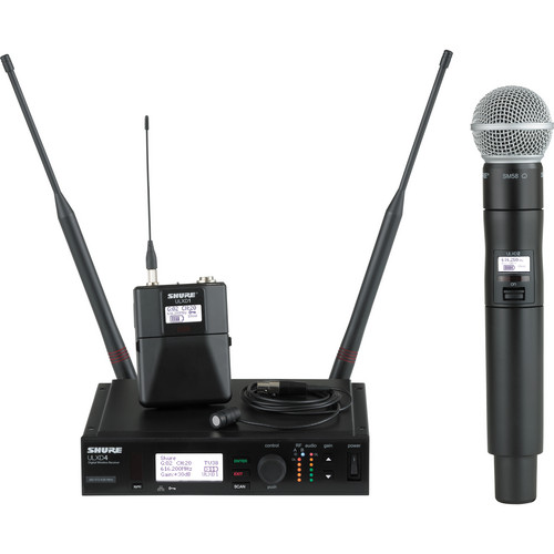Shure ULX-D Digital Wireless System with SM58 Handheld Transmitter & Cardioid Lavalier Microphone Bundle (H50: 534 to 598 MHz)