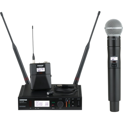 Shure ULX-D Digital Wireless System with SM58 Handheld Transmitter & Cardioid Lavalier Microphone Bundle (J50: 572 to 636 MHz)