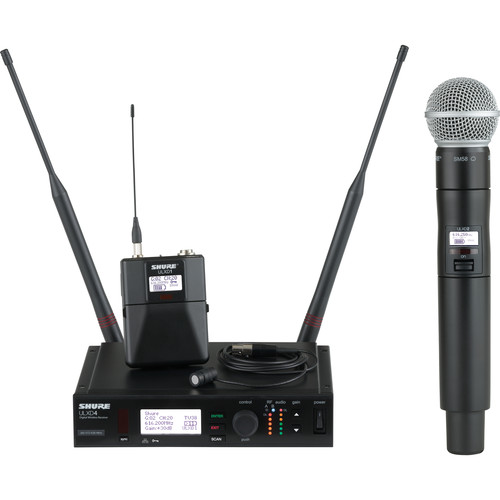 Shure ULX-D Digital Wireless System with SM58 Handheld Transmitter & Cardioid Lavalier Microphone Bundle (L50: 632 to 696 MHz)